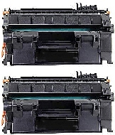 2 BLACK GENERIC CE505A LASER TONER CARTRIDGES - 2.3k YIELD