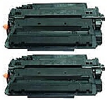 2 BLACK GENERIC CE255X LASER TONER CARTRIDGES - 12.5K HIGH YIELD